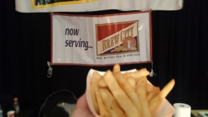 After reading the banner in the background, I realized the key to great fries isn't the Idaho potato, it's the beer.